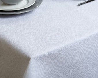 Christmas Linen Tablecloth, Bright White linen table top, Linen table cover, Christmas Tablecloth