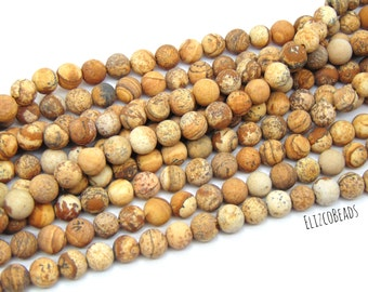 "8mm Frosted, Natural Picture Jasper Beads, 15"" strand 