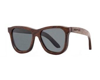 Parkville Wooden Polarized Wayfarer Sunglasses - Dutch Bays (Kumbuk Wood - Polarised)