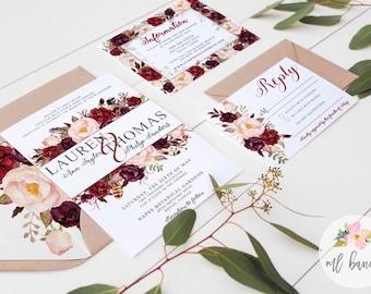"Watercolor ""LAUREN"" Invitation, Burgundy Boho Watercolor Peony and Feather Wedding Invitation Set  // Digital or Printed //"