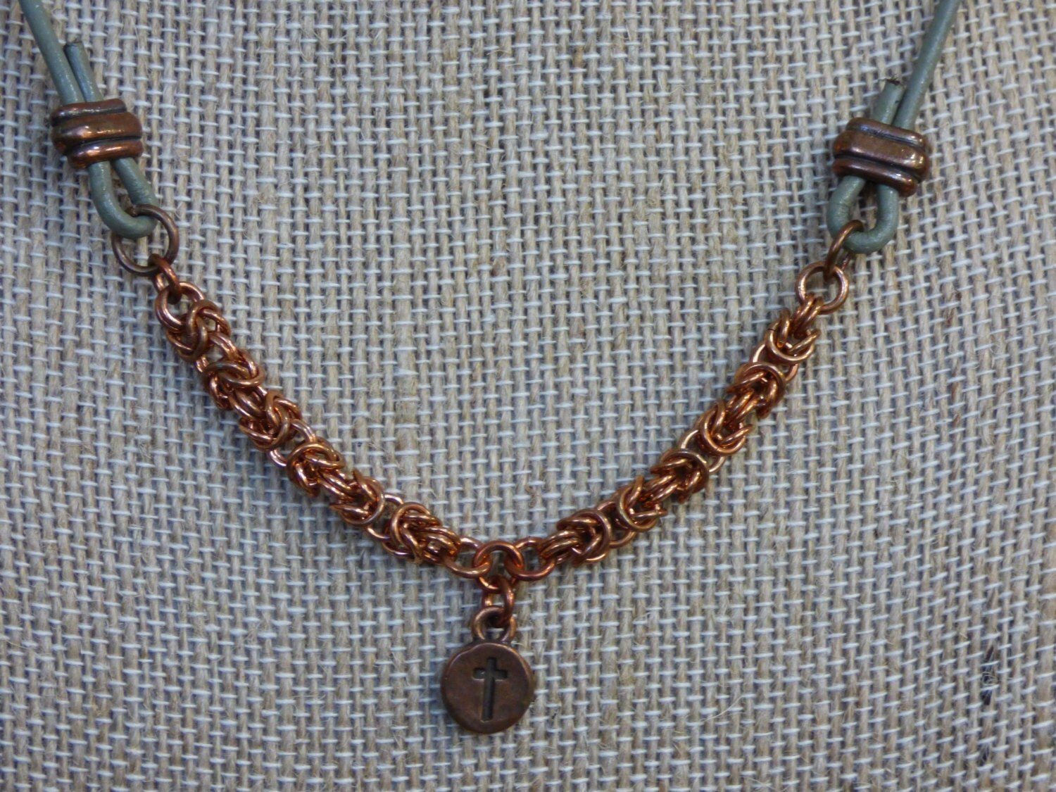 Copper byzantine chainmail necklace with small copper cross copper byzantine chainmail necklace with small copper cross pendant copper pendant copper necklace copper christian necklace aloadofball Choice Image