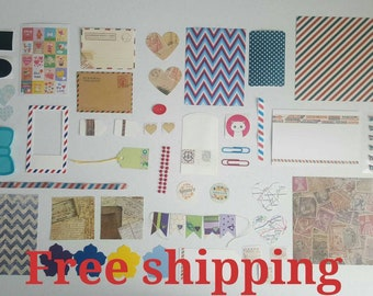 Pen pal kit. Paper supplies. Snail mail kit. Paper kit. Journal kit. Pocket letter kit. Free shipping.