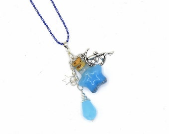 Glass bottle pendant star Moon and fairy - Passionnella