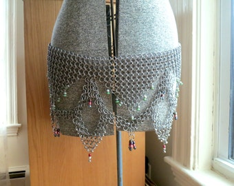 Chain Mail Belly Dancing Belt - Chainmaille - Beaded belt, Indian, Women's Large, Middle Eastern, Arabian, Asian
