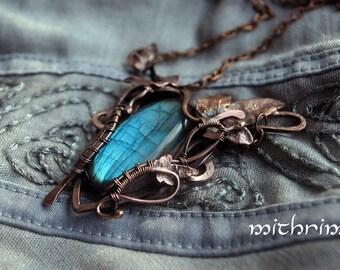 "Elven necklace with blue stone ""Elessar"" LotR pendant Elven jewelry Blue stone Leaf pendant Copper necklace Wire wrap Bonanical necklace"