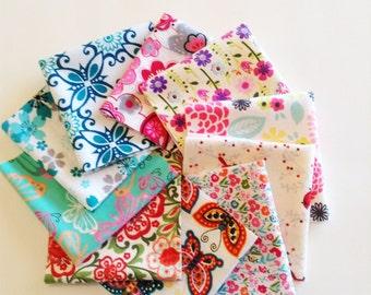 Ladies Handkerchiefs, Set of 10, Prints, Modern,Flannel Handkerchiefs, Reusable Tissues,Paperless Hankies,Womens Handkerchief WH817