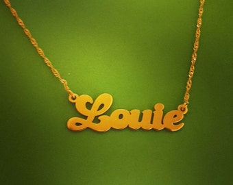 Solid Gold Name Necklace / Louie / Name Necklace Gold / Personalized Necklace / Name Plate Necklace / Gold Necklace/ Christmas Gift