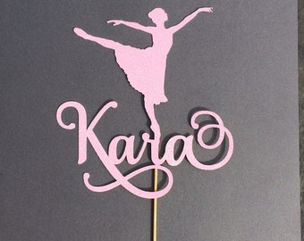 Dancer personalized glitter cake topper, dance party, ballet cake topper, centerpiece