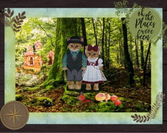 Two little kittens lost in the Black Forest, the fairy tale takes a new twist with this note card; arts and collectibles, paper, stationary