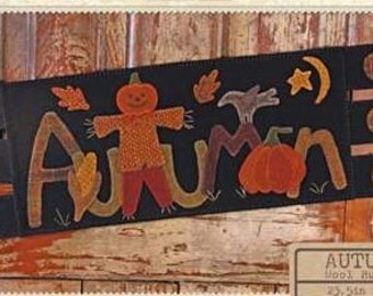 "Primitive Wool Applique table runner PATTERN ""Autumn""BMB 1051"