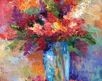 """Colorful Flowers Blue Vase Original Oil Painting Textured Pallet Knife Wall Art Decor 8""""X10"""""""