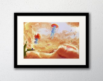 Surreal painting 'Intoxicating Freedom' framed Print