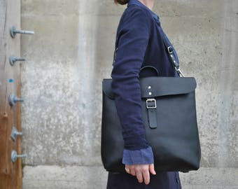 Italian Leather Cross body and Backpack, Leather Backpack, Leather Messenger Bag, Leather Cross body Bag, Black Leather Two in One Bag