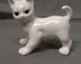 White Cat with Green Eyes Cat Figurine