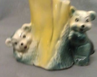 Beige and Grey Green Bears with Colorful Faces and Yellow Tree Stump Pottery Planter