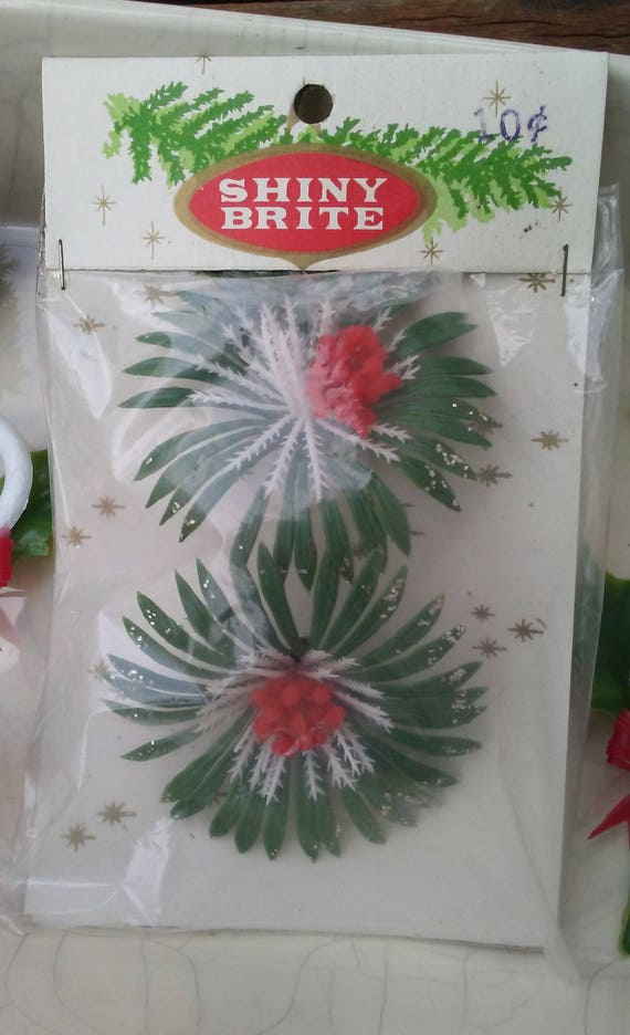 Shiny brite 8 pc vintage plastic christmas flowers holiday for Vintage christmas craft supplies