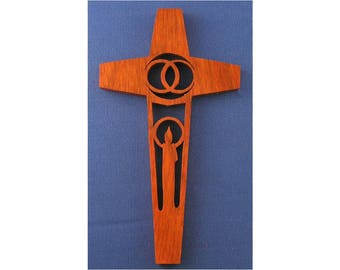 Candle Wedding Cross - Hand Cut From Padauk