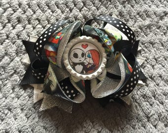 Nightmare Before Christmas Jack and Sally Boutique Hair Bow