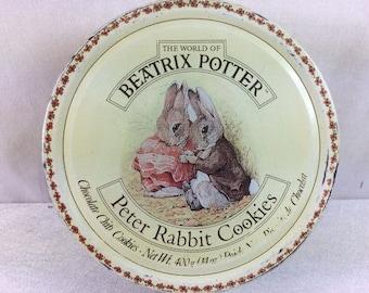 Peter Rabbit Cookie Jar Vintage Beatrix Potter Tin Canister Peter Rabbit Tin Box