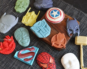 The superheroes series silicone Mold Fondant Gum Paste Chocolate Craft Mold, Resin Polymer Clay Metal Clay,porcelain mold,cake decorative