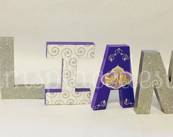 Sofia the First Party, Princess Party Decor, 1st birthday, One, Party Decorations, Decorative Letters, Paper Mache Letters