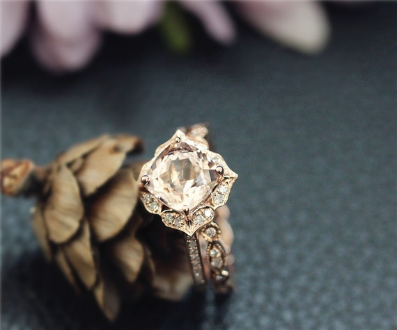 7mm Cushion Morganite Ring Set,Engagement Ring Set,