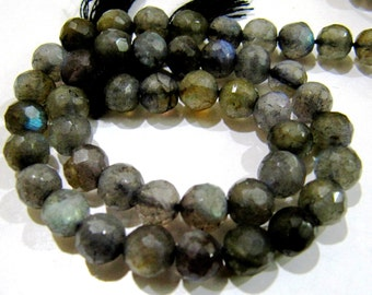 Best Quality Faceted Labradorite Gemstone Beads / Ball Shape Natural Labradorite Beads / 7mm Size Beads / Length 10 inch long / Blue Flashy