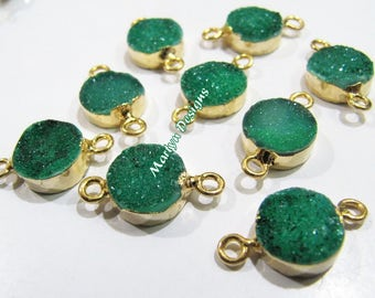 Top Quality Druzy Connector 24 Kt Gold Electroplated , Natural Green Color Drusy Round Connectors , 10mm Double Loop Bezel Sold per Piece.