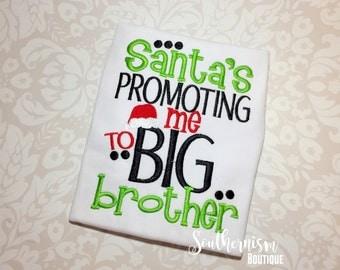 Christmas Shirt,Big Brother Christmas, Sibling Christmas, Pregnancy Announcement, Santa Big Brother, boys shirt, sibling shirt, pregnant