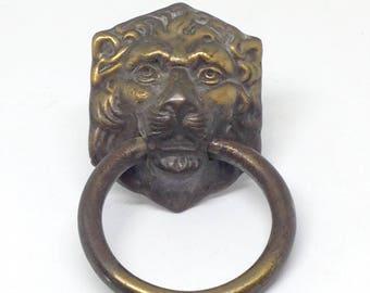 Brass Lion Head Drawer Pull, Brass Drawer Pull, Furniture Drawer Pull, Night Stand Drawer Pull, Vintage Brass Drawer Knob
