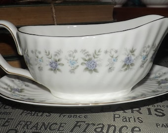 BLOWOUT! Vintage (c. early 1970s) Minton Alpine Spring gravy boat and matching under plate. MINT! and unused.