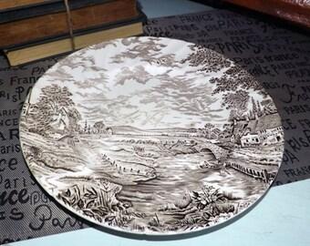 Vintage (c.1960s) Ridgway Country Days Brown dinner plate. Brown transferware English country scene, swirled verge.