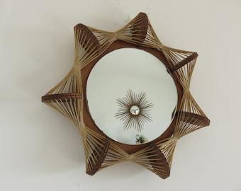 rare Scandinavian mirror thread and wood mid century 1960's 1970 '60s 70's vintage Scandinavian mirror