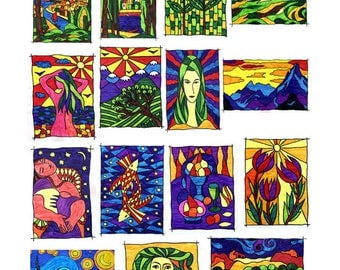 Coloring for adults. A set of 15 paintings / templates. Pictures are made on motives of classics of painting and on my drawings. Anti-stress