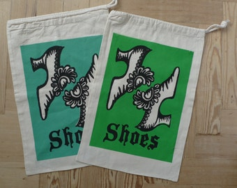 Shoe bag, hand screen printed cotton drawstring bag with Georgian buckle shoes