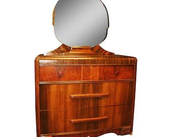 Art Deco WATERFALL DRESSER w Mirror chest of drawers vintage red bakelite pulls wood 40s great gatsby era tall
