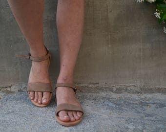 Taupe Nubuck Leather Slippers, Leather Slides,Summer Sandals,handmade sandals,summer flats