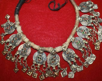 Vintage Decorated Coin Necklace, Afghanistan, Mix of Old and Newer Coins