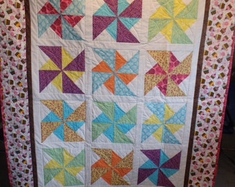 single bed quilt, lap throw, cupcake quilt, girl's quilt, teen quilt, gifts for girls, pink quilt, pink and brown quilt