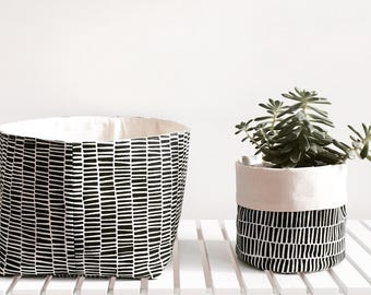 Monochrome storage basket, nursery basket, black and white basket.
