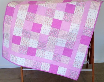 Bright Pink Cot Quilt, Play Mat, Throw, Wall Hanger, Blanket, Cuddle Quilt, Lap Quilt  *SHIPPING INCLUDED