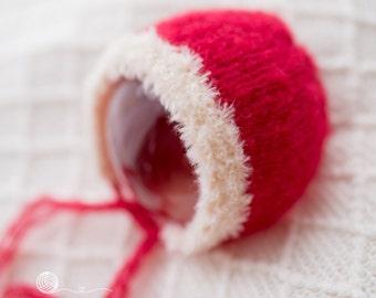 READY TO SHIP, Newborn Christmas Bonnet, 6-9 mth Christmas Bonnet, Holiday Season Bonnet, Christmas Pixie Bonnet, photography Props