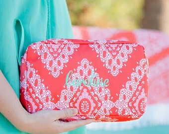 Monogrammed Accessory Bag, Coral accessory bag, monogrammed cosmetic bag, coral accessory,personalized accessory bag,personalized cosmetic