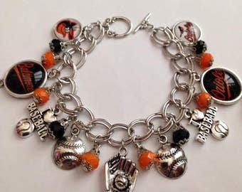 Baltimore Orioles Inspired Bracelet, Baltimore Orioles Jewelry, Orioles Bracelet, Orioles Jewelry, Baseball Team Jewelry, Ships From USA
