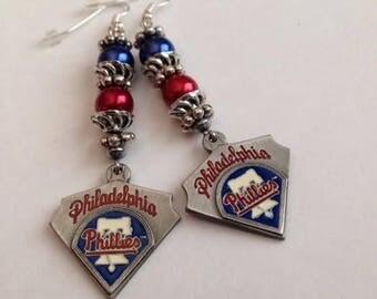 Philadelphia Phillies Inspired Earrings,Philadelphia Phillies Inspired Jewelry,Phillies Inspired Earring, Ships From USA