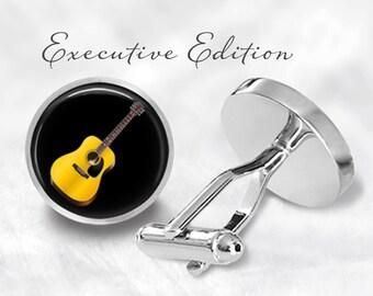 Acoustic Guitar Cufflinks - Guitar Cuff Links - Music Cufflink (Pair) Lifetime Guarantee (S0286)