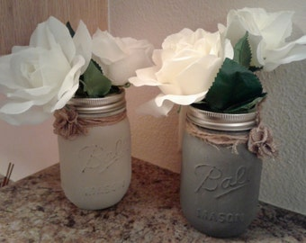 Set of 2 mason jar vases