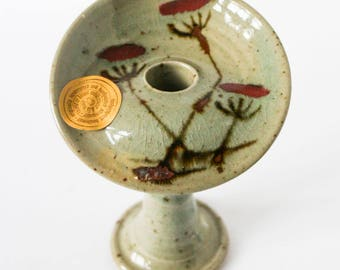 Handmade candle holder - Flower blossom ceramic vintage - Grey and red pottery design