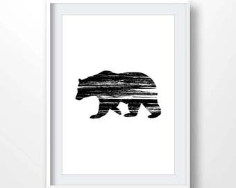 Bear Print, Bear Art, Bear poster, Bear Wall Art, Black Bear Silhouette Print, Bear printable, Black White Wall Print, Black Bear decor,2096