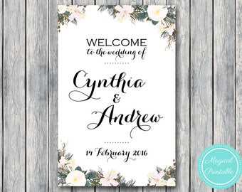 White Floral Personalized Welcome wedding sign, Printable Wedding Sign, Wedding Decoration Sign, Printable sign DIY Print WD69 WS16